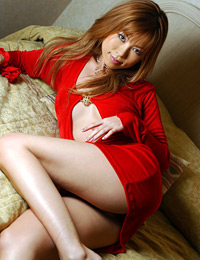 Model ami ayukawa in red silk